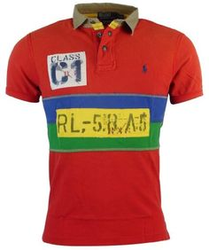 Polo Ralph Lauren Mens Custom Fit Rafting Guide Mesh Polo Shirt - M - Red/Yel/Blue/Grn 100% cotton. Machine washable. Imported.. Two snap placket with a buttoned closure at the throat.. Embroidered polo pony logo on left chest.. Rafting themed patches and stenciled graphics at the chest and back.. Uneven vented hem..  #Polo_Ralph_Lauren #Apparel