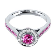 Diamond Halo Ring 0.95 Ct Real Pink Sapphire 14k Gold Special Occasion Jewelry