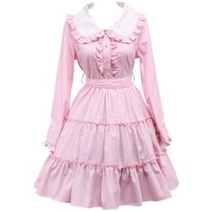 Women's Lapel Ruffles Lace Sweet Victorian Cosplay Lolita Dress ($55) ❤ liked on Polyvore featuring dresses, pink lace cocktail dress, frilly dresses, lace flounce dress, ruffle dress and ruffle cocktail dress