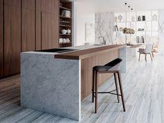 Cocina lacada de chapada en madera VELVET ÉLITE by GD Arredamenti diseño GD Design Department