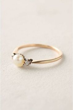 Vintage Pearl Engagement Ring   Modern Anne of Green Gables Wedding Inspiration in Blush and Spring Green