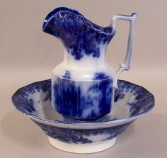 pitcher and basin set   COBURG flow blue pitcher and bowl ironstone transferware