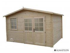 Chalet en sapin de 11.64 m². Modèle : Cully. Dimensions : 388 x 300 x 247 cm.