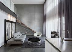 עיצוב פנים - לופט בקרית אונו   משרד אדריכלים ועיצוב פנים דורית סלע Bathtub, Stairs, Interior Design, Bathroom, Living Rooms, Gray, Gallery, Standing Bath, Nest Design