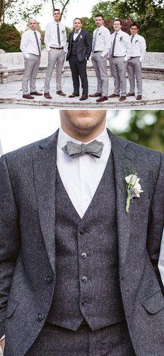 dark grey groom attire