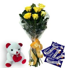 send new year flower with cute teddy