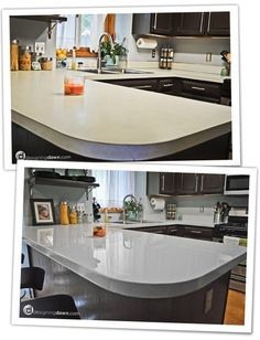 Cheap way to change ugly countertops. Paint them! I found this girl's blog online. She has a lot of awesome DIY renovation ideas, including this one. This is the best one I've seen so far. I think I'm going to go through with it and paid my countertops! http://www.remodelaholic.com/2012/02/glossy-painted-kitchen-counter-top-tutorial/