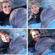 Britney Spears & Sons Go Swimming With The Dolphins