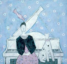 Lady And Piano  Arcylic With Mixed Media  530mm x 500mm  This item has been SOLD