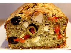 Red pepper, olives and feta cake