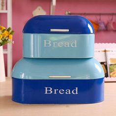Vintage Kitchen Americana Bread Box Bin Storage Container – Color your kitchen Utensil Storage, Bin Storage, Storage Containers, Blue Kitchen Accessories, Bread Boxes, Cooking Utensils, Vintage Kitchen, Aqua Blue, Crock