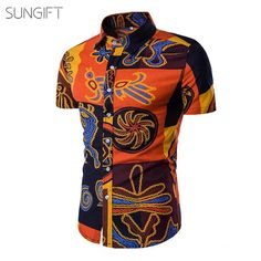 Domple Mens Short Sleeve Slim Fit Easy Care Button Front Ethnic Plus Size Shirts