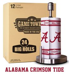 1 CASE OF ALABAMA GAME TOWELS INCLUDES 24 BIG ROLLS OF PAPER TOWELS WITH THE CRIMSON TIDE LOGO PRINTED ON EACH SHEET.