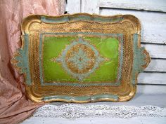 Vintage Florentine large tea tray. Gold, turquoise and lime green. Venetian tea tray. Shabby chic. Cottage chic. Italian tea tray.