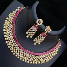 The best online store to buy the unique and beautiful collection of CZ American Diamond necklace set Wedding Jewellery Designs, Wedding Jewelry, Diamond Necklace Set, Diamond Jewelry, Jewelry Art, Jewelry Design, Gold Jewelry, American Diamond Jewellery, Drops Patterns