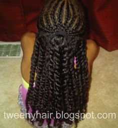 Tweeny Hair: Half Up with Cornrows and Twists - Black Girl Hair Styles Black Girl Braided Hairstyles, Baby Girl Hairstyles, Natural Hairstyles For Kids, Twist Hairstyles, Hairstyles For School, Children Hairstyles, Princess Hairstyles, Braids For Kids, Girls Braids