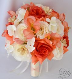 17pcs Wedding Bridal Bouquet Silk Flower Decoration Package Coral Ivory Orange   eBay