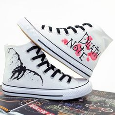 shoes death note anime sneakers high top sneakers white sneakers