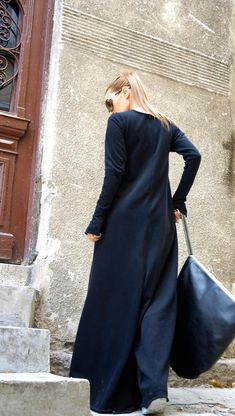 NEW Collection Black Cotton Wide Leg Maxi Jumpsuit / Extravagant Jumpsuit /Long Sleeves Thumb Holes with side pockets by AAKASHA Edgy Look, Look Chic, Cotton Jumpsuit, Long Jumpsuits, Printed Leggings, Black Cotton, Normcore, Womens Fashion, Long Sleeve