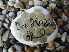 Hey, I found this really awesome Etsy listing at https://www.etsy.com/listing/229733318/bee-happy-painted-rock-art-painted-stone