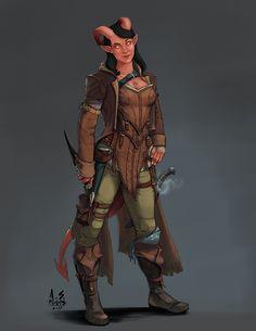Character Commission: Anirali - Tiefling Rogue, Andrew Phillips on ArtStation at https://www.artstation.com/artwork/gDROG