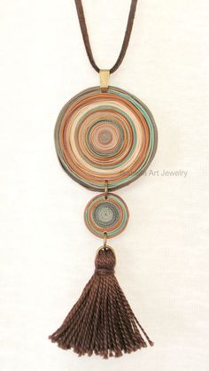 Boho tassel necklace polymer clay disks