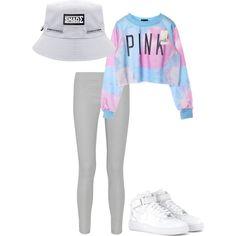 PINK crop sweater, grey leggings, white kicks, white bucket hat