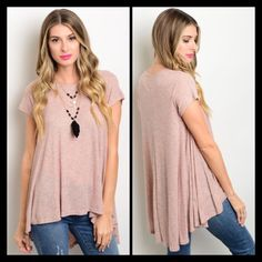 Dusty Rose Top This relaxed fit tee features a scoop neck, and a high low cut. Material 94% Rayon and 6% Spandex. NO TRADES ✔️reasonable offers considered✔️ No low ball offers. If you are unsure of your size please ask and I will provide you with measurements Tops Tees - Short Sleeve