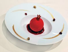 Dessert Professional | The Magazine Online - Ceylon Cinnamon Bavaroise with Hazelnut Financier and Pomegranate