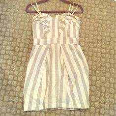 BCBG striped linen dress Strapless Grey Blue and White vertical striped dress with pockets. Cinched at waist. Excellent condition. BCBGeneration Dresses Strapless