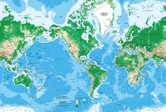 World Topography Map Wall Mural - Miller Projection