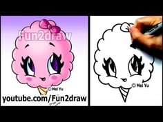 Cotton Candy Treat - Summer Snacks - Cartoon Art Drawing Lesson - YouTube