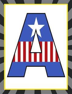 SUPER HERO - Classroom Decor: CAPTAIN AMERICA Banner LETTERS