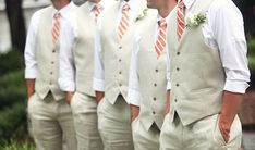 Groom & Groomsmen Vests- Probably doing this instead of traditional black on white.