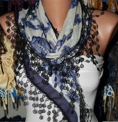 Blue Silvery Scarf   Cotton  Scarf  Headband Necklace by fatwoman, $15.00