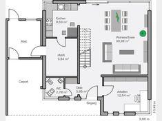 Grundriss EG Massivhaus Dietz modern im Bauhausstil mit Pultdach und Erker sowie großem Wohnbereich und Gästebad