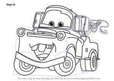 Step by Step How to Draw Tow Mater from Cars : DrawingTutorials101.com Small Truck Camper, Small Trucks, Cool Trucks, Truck Art, Tow Truck, New Audi Car, Truck Tattoo, Cartoon Head, Tow Mater