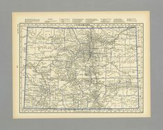 Antique Vintage Map Colorado 1931 1930s by MeridiansMaps on Etsy
