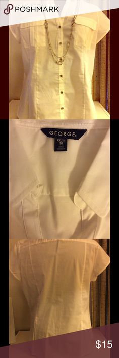 """XXL/20 White button down short sleeves blouse George White short sleeve button down Blouse. NWOT. Has a small spot on front, bought it like that, see last picture. 62% Cotton, 35% Polyester, 3% Spandex. 24"""" from armpit to armpit. George Tops Button Down Shirts"""