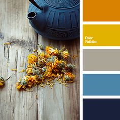 Incredibly beautiful expressive palette. The natural combination of warm and cool colors. Orange, yellow, dark blue and the color of a stormy sky make a wo.