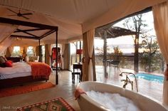 Luxury African Safari. The Elephant Camp: A bath with a view!