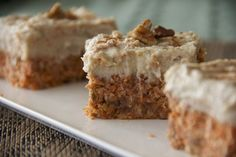 Raw Carrot Cake with Vanilla Cream Frosting. Recipe from http://justglowingwithhealth.com/no-bake-gluten-freecarrot-cake/.