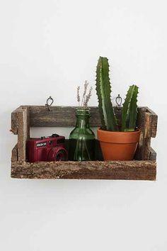 Reclaimed Wood Crate Wall Shelf