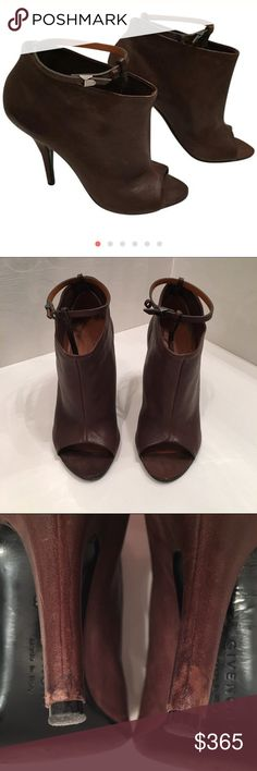 """Givenchy Plateau brown open toe booties Brown Givenchy """"Plateau"""" open toe booties with covered 4"""" stiletto heels. Around the ankle strap. Has scuffs on heels and minor worn on soles (pictured). Size IT 38. Includes dust bag, no box. I don't trade. Thanks! Givenchy Shoes Ankle Boots & Booties"""