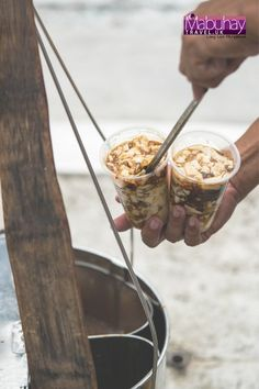 Taho! Taaaaaa-hooo! Hmmm… Sinong relate jan? Kapag narinig ang sigaw ni Mamang Taho, takbo agad! Taho is a healthy street snack made up of three ingredients: soft tofu, arnibal (simple syrup), and sago (tapioca balls). It is usually served warm, kadalasan sa umaga ito. However, you can also enjoy the tofu chilled for a cooling treat.. #travel #mabuhay #philippines #food