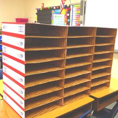 Mailbox slots for students-scrapbook paper, mod podge and duct tape would fix these up