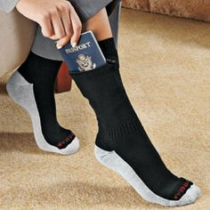 Zip It Passport Socks. Carry your passport safely out of sight!