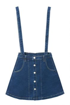 A-Line Button Down Plain Double Pockets Denim Overall Skirt, Fashion Style Skirts Button Down Denim Skirt, A Line Denim Skirt, Blue Denim Skirt, Button Up Skirts, A Line Skirts, Winter Skirt Outfit, Skirt Outfits, Casual Outfits, Denim Overall