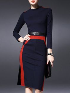 Purplish Blue Sheath Long Sleeve Slit Midi Dress