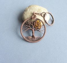 Tree-Of-Life Keychain Copper wire wrap Tiger Eye Full-moon #treeoflife #keychain #hosewarming #anniversarygift